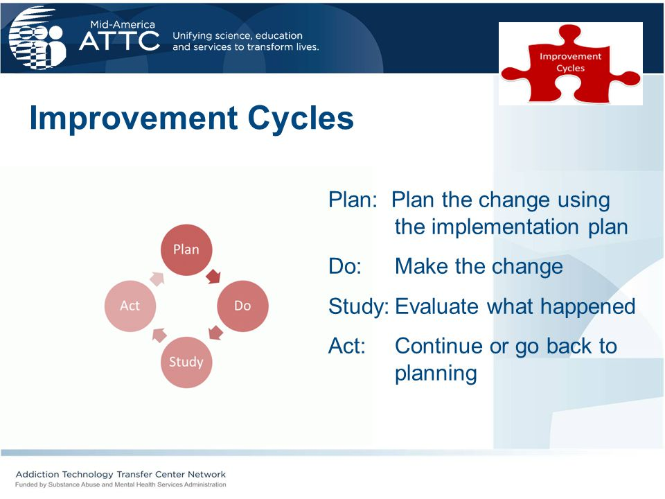 Improvement Cycles Plan: Plan the change using the implementation plan