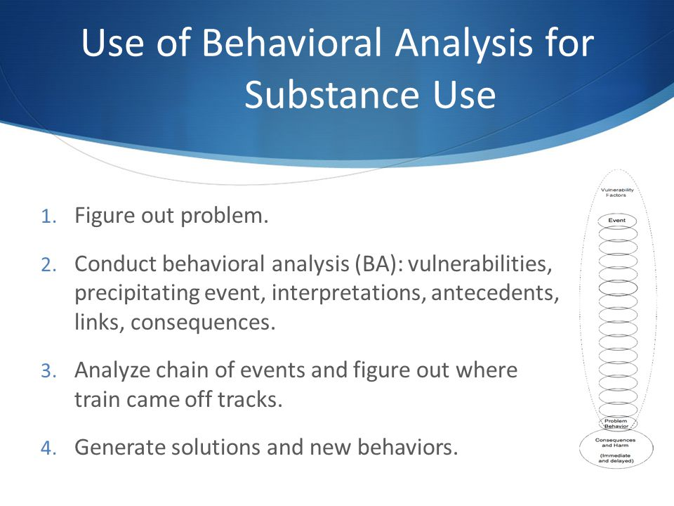 Use of Behavioral Analysis for Substance Use