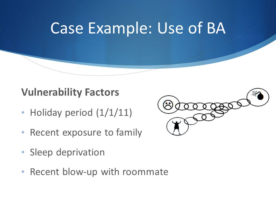 Case Example: Use of BA Vulnerability Factors Holiday period (1/1/11)