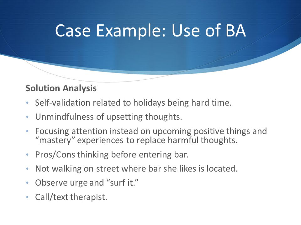 Case Example: Use of BA Solution Analysis