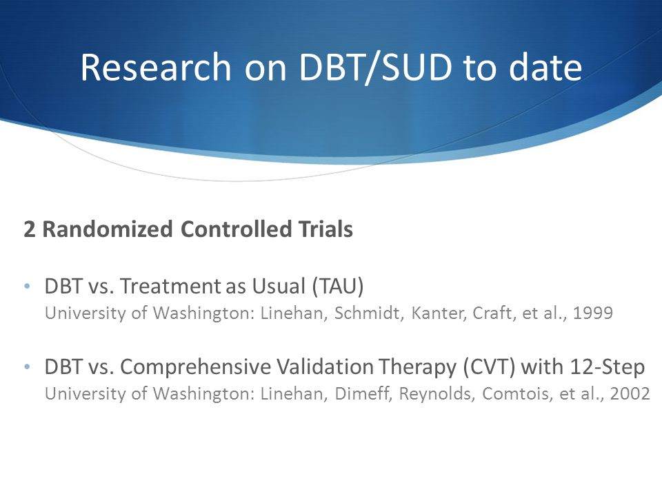 Research on DBT/SUD to date