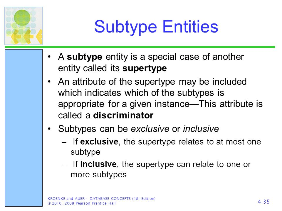 Subtype Entities A subtype entity is a special case of another entity called its supertype.