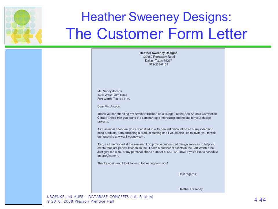 Heather Sweeney Designs: The Customer Form Letter