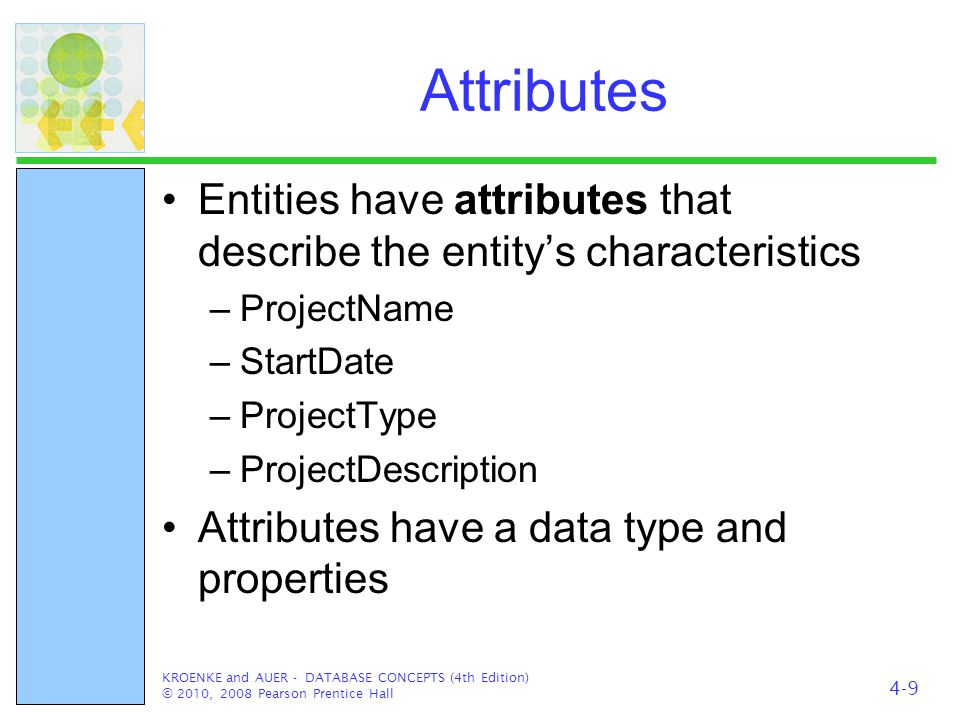 Attributes Entities have attributes that describe the entity's characteristics. ProjectName. StartDate.