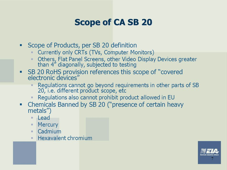 Scope of CA SB 20 Scope of Products, per SB 20 definition