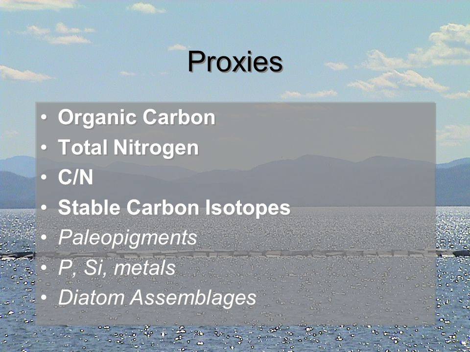 Proxies Organic Carbon Total Nitrogen C/N Stable Carbon Isotopes