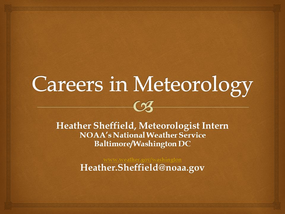Careers in Meteorology