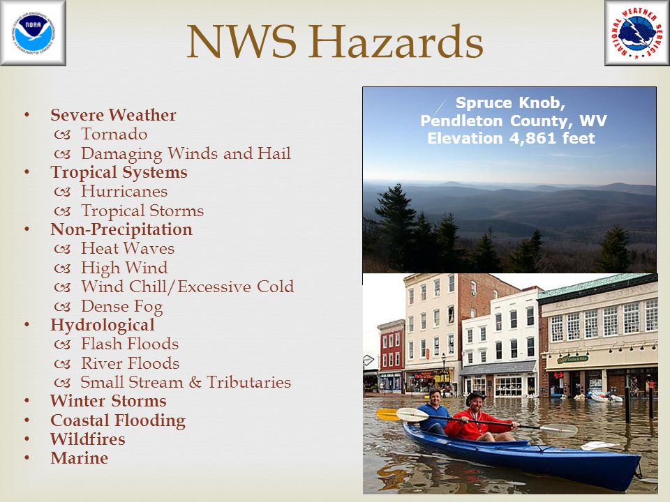 NWS Hazards Severe Weather Tornado Damaging Winds and Hail