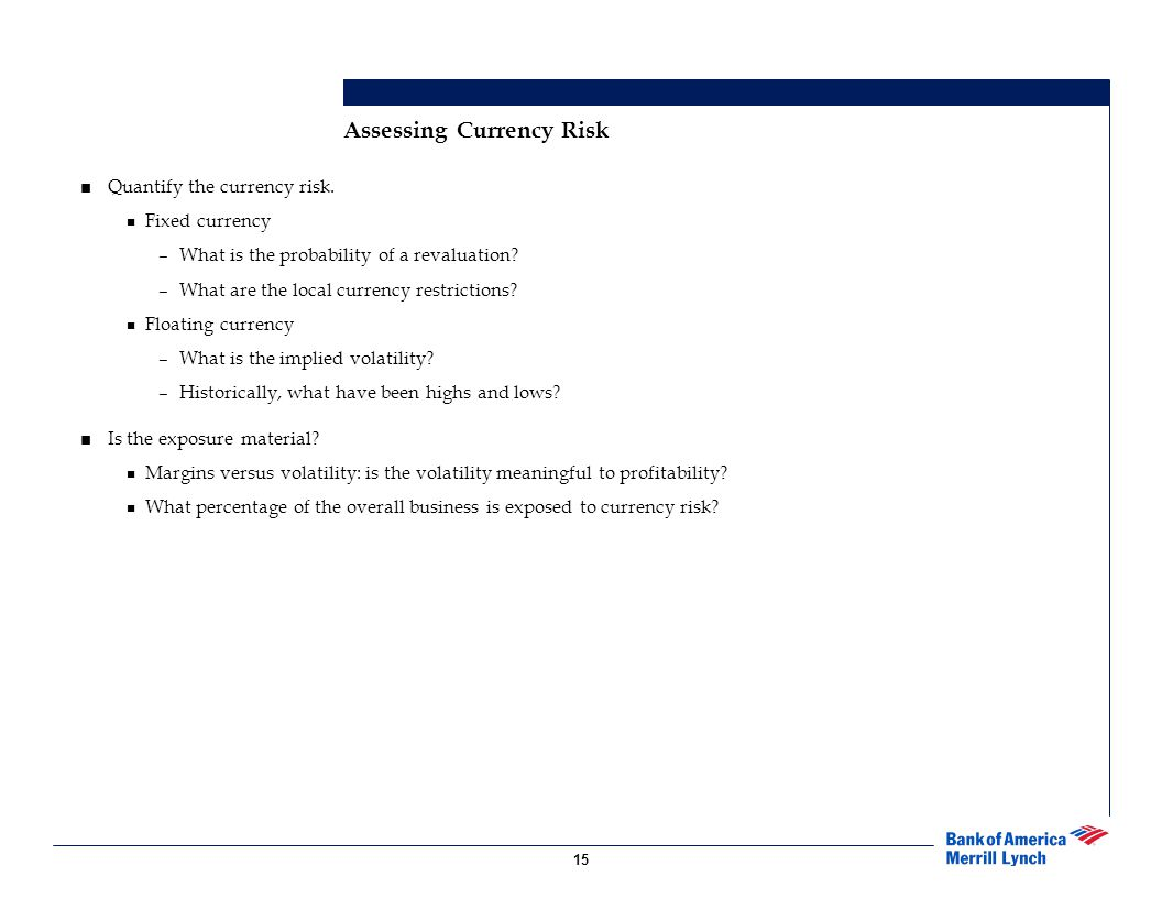 Assessing Currency Risk