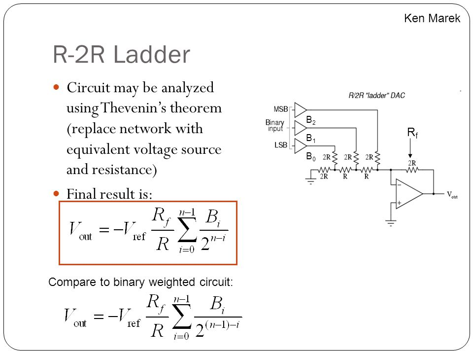 Ken Marek R-2R Ladder. Circuit may be analyzed using Thevenin's theorem (replace network with equivalent voltage source and resistance)