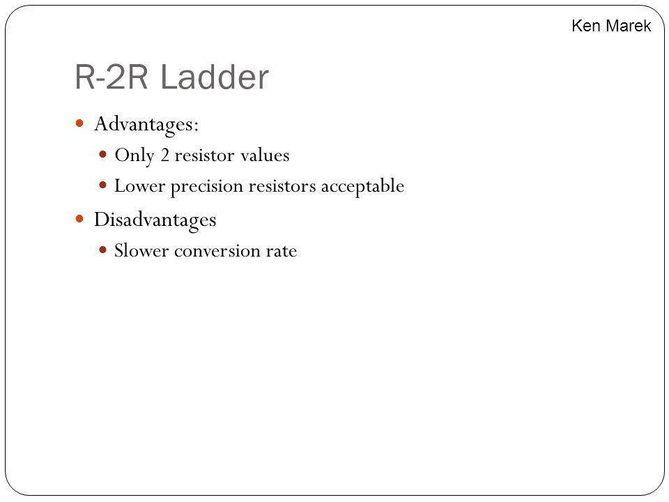 R-2R Ladder Advantages: Disadvantages Only 2 resistor values