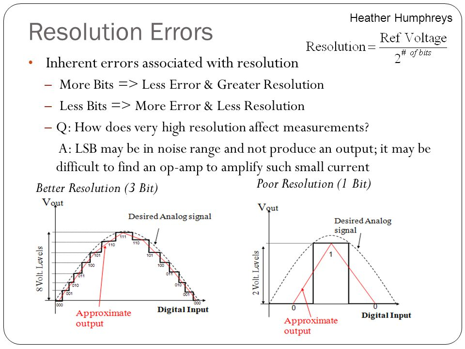 Resolution Errors Inherent errors associated with resolution