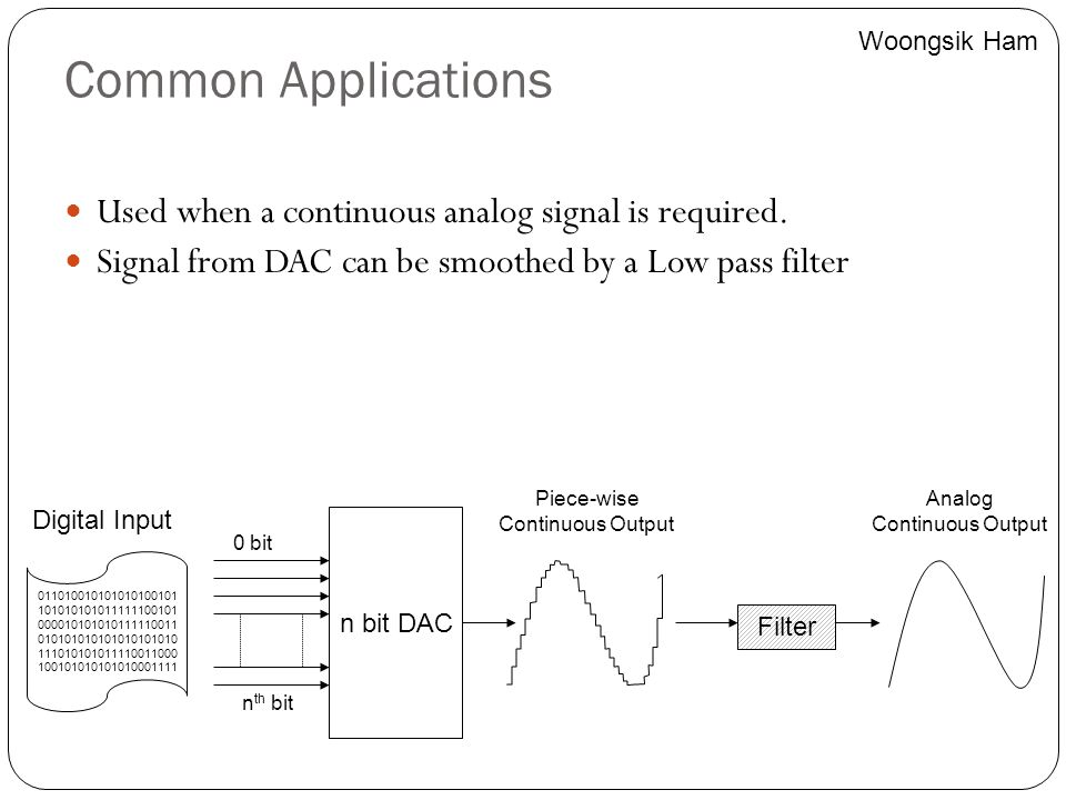 Common Applications Used when a continuous analog signal is required.