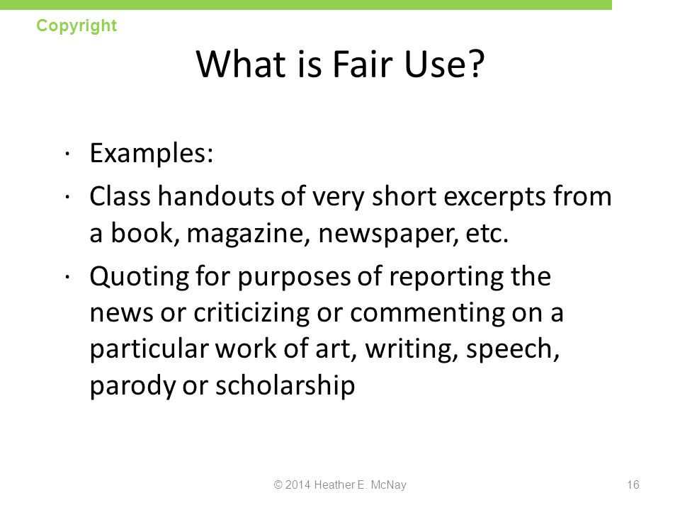 What is Fair Use Examples: