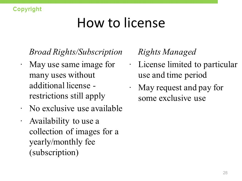 How to license Broad Rights/Subscription
