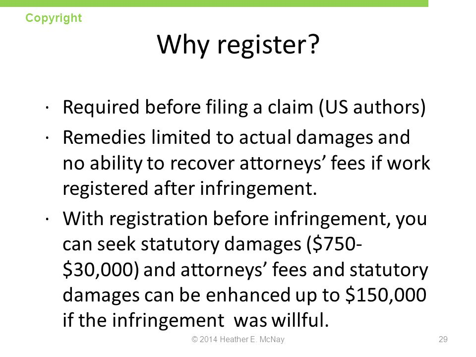 Why register Required before filing a claim (US authors)