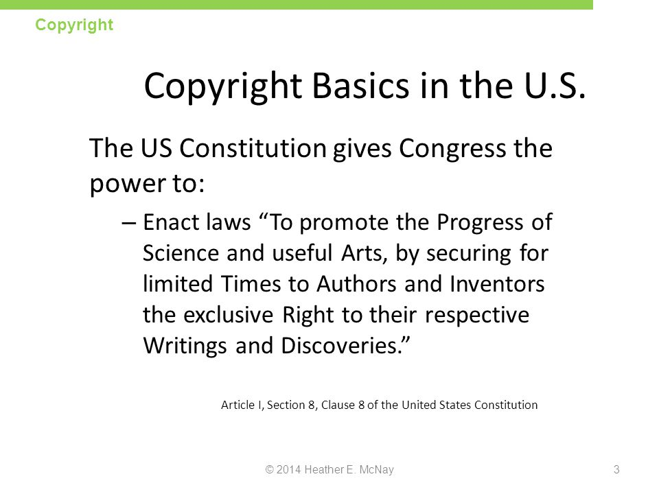 Copyright Basics in the U.S.