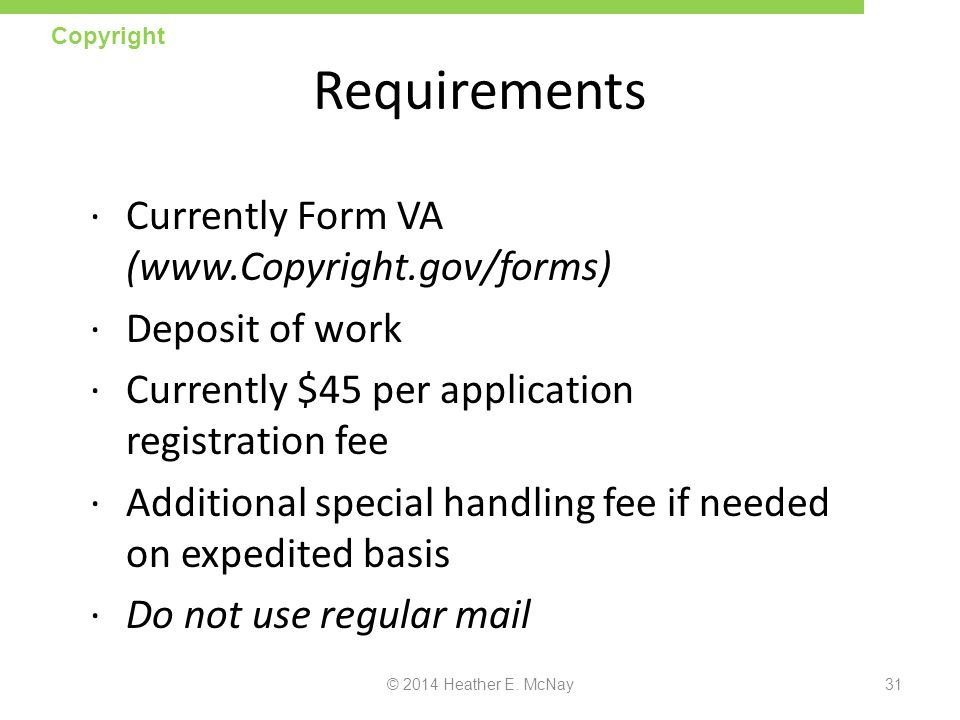 Requirements Currently Form VA (www.Copyright.gov/forms)