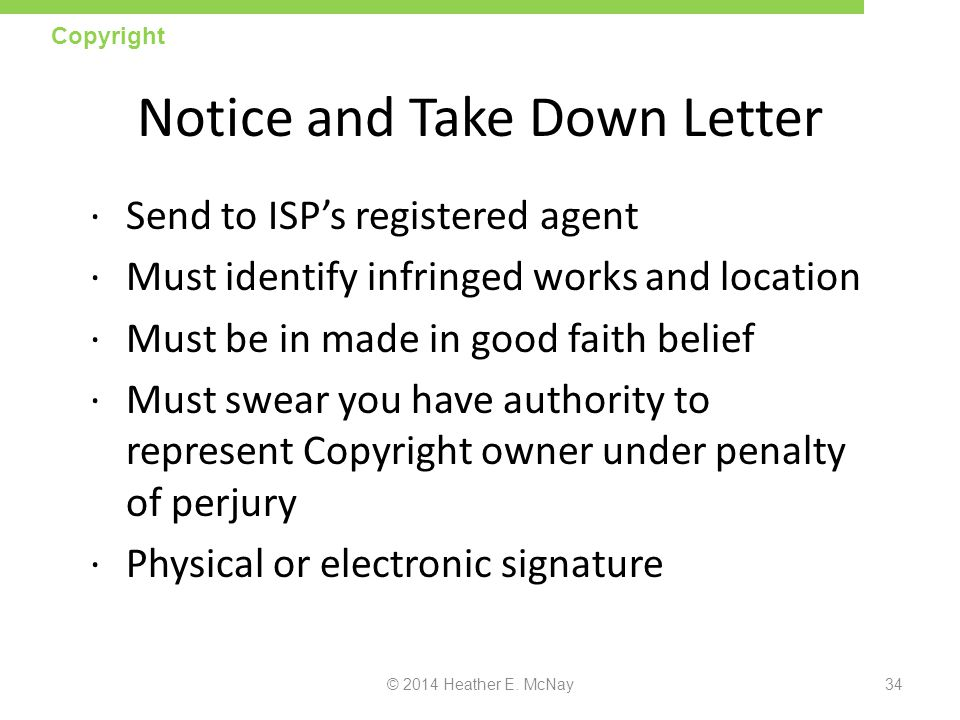 Notice and Take Down Letter