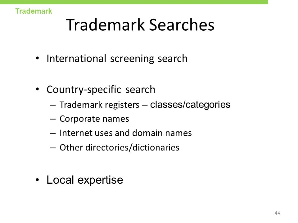 Trademark Searches International screening search