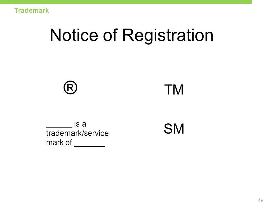 Notice of Registration