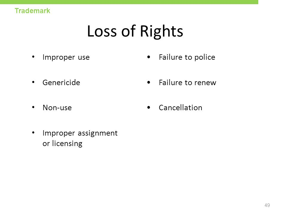 Loss of Rights Improper use • Failure to police