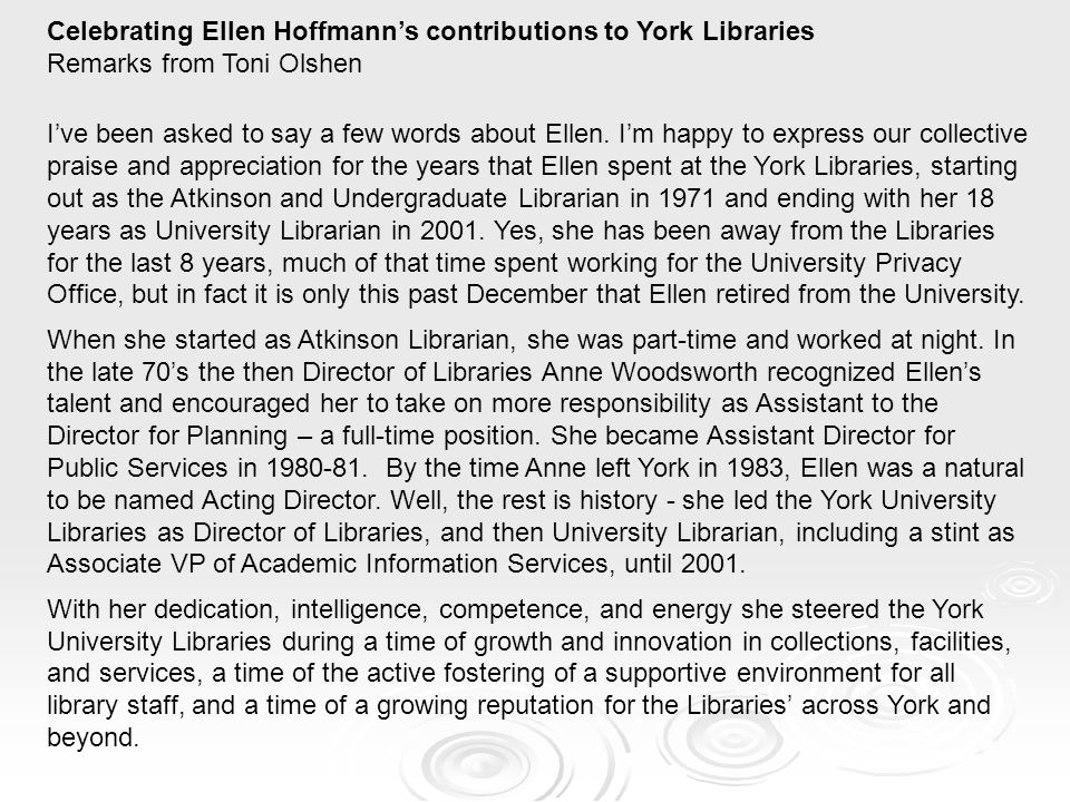 Celebrating Ellen Hoffmann's contributions to York Libraries