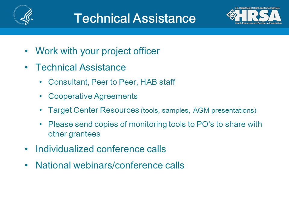Technical Assistance Work with your project officer