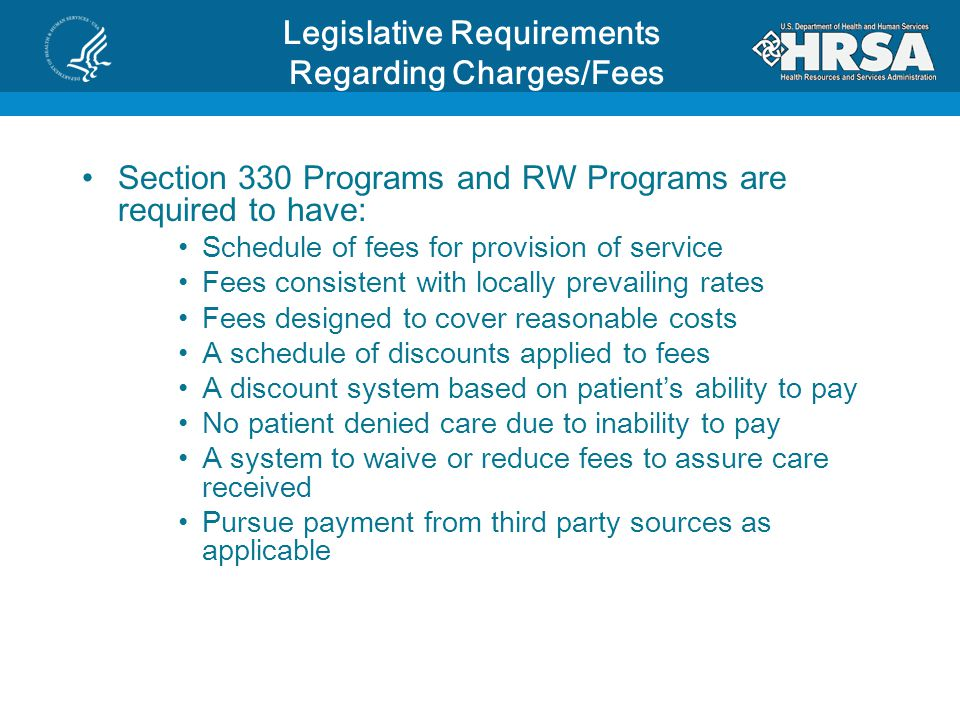 Legislative Requirements Regarding Charges/Fees