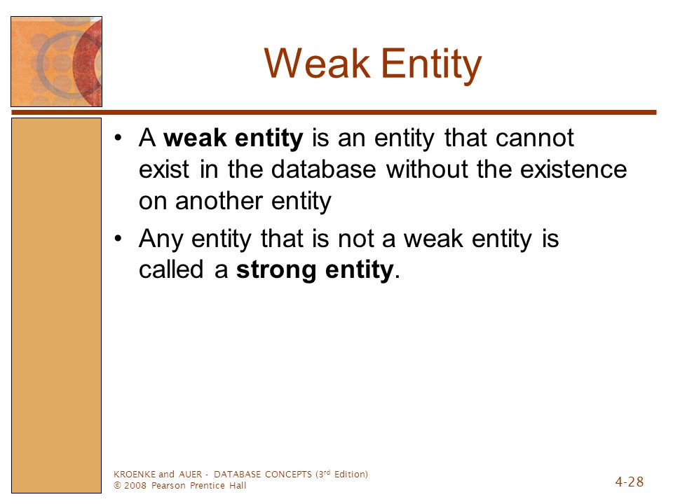Weak Entity A weak entity is an entity that cannot exist in the database without the existence on another entity.