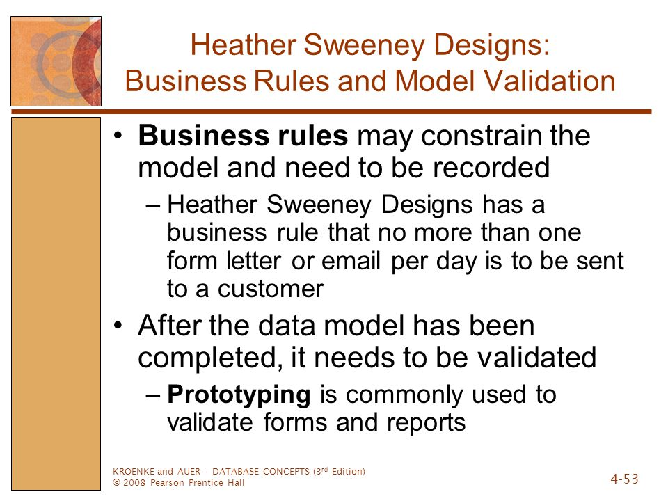 Heather Sweeney Designs: Business Rules and Model Validation