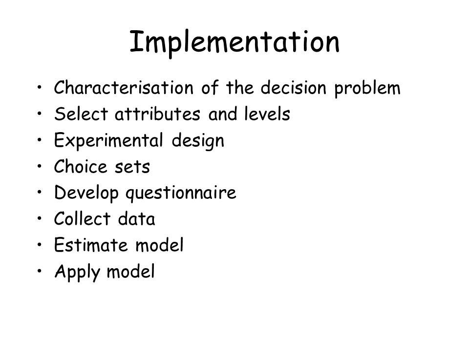 Implementation Characterisation of the decision problem