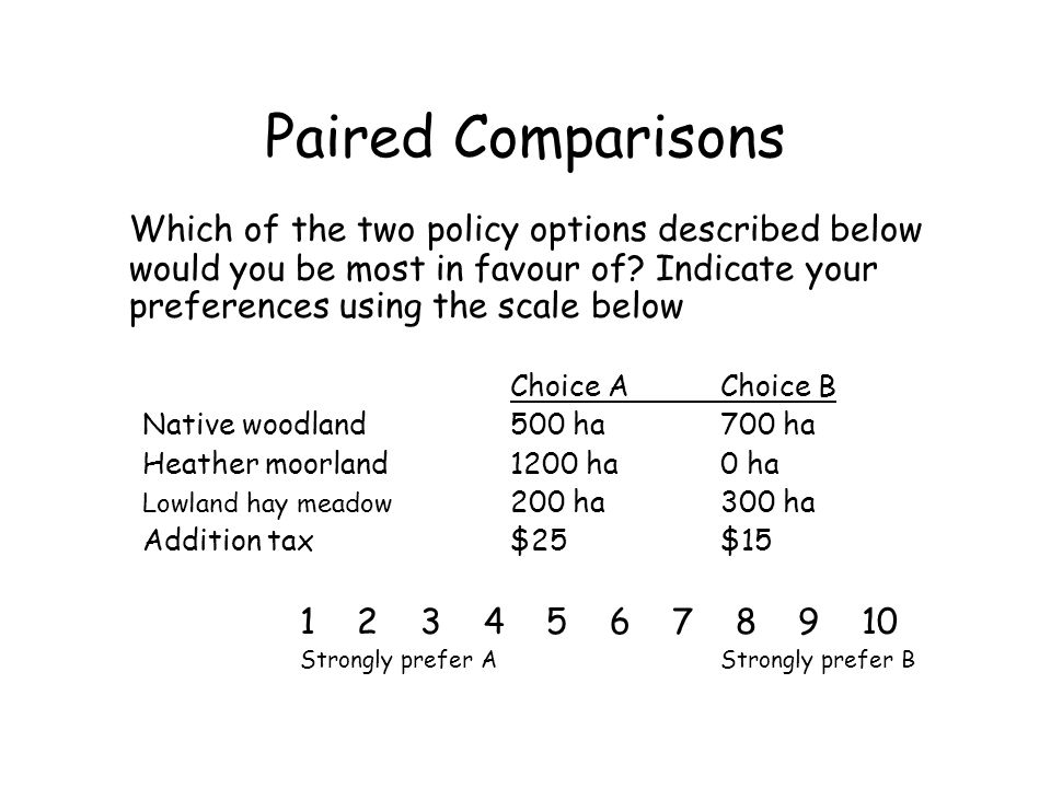 Paired Comparisons Which of the two policy options described below would you be most in favour of Indicate your preferences using the scale below.