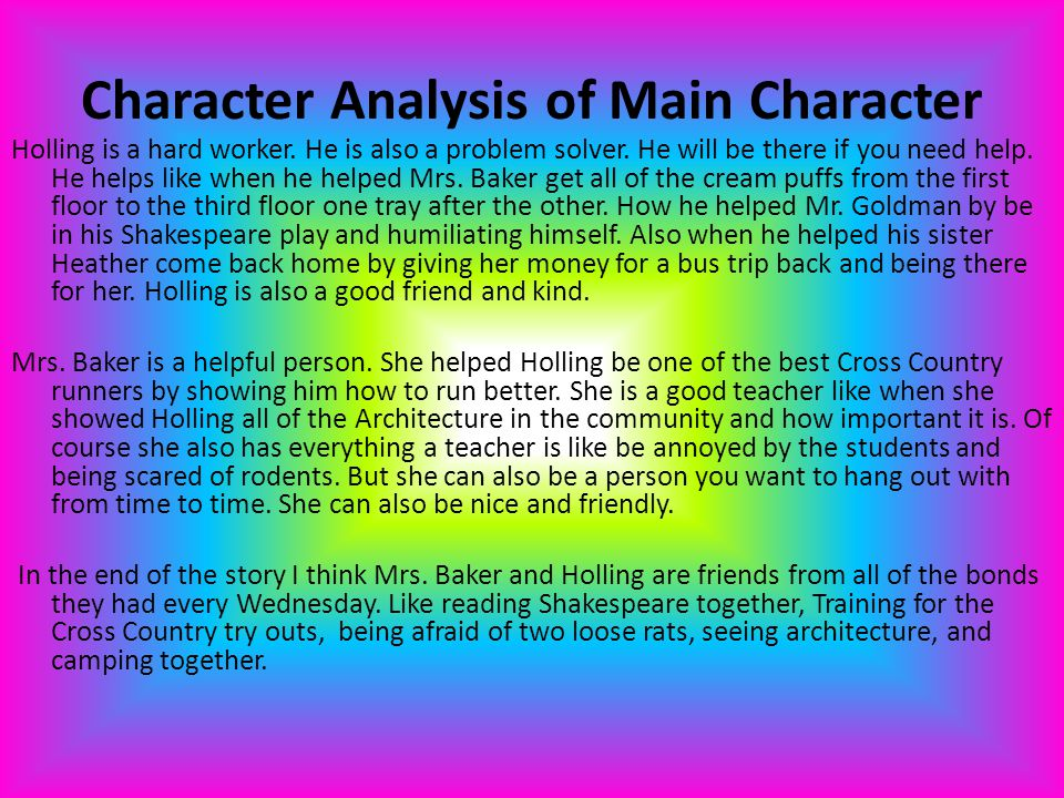 Character Analysis of Main Character