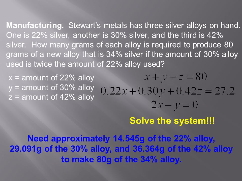 Solve the system!!! Need approximately 14.545g of the 22% alloy,