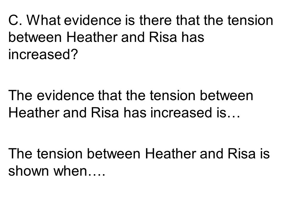C. What evidence is there that the tension between Heather and Risa has increased