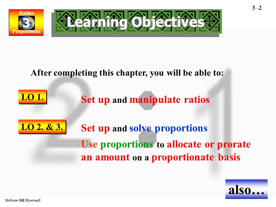 Learning Objectives also… Set up and solve proportions