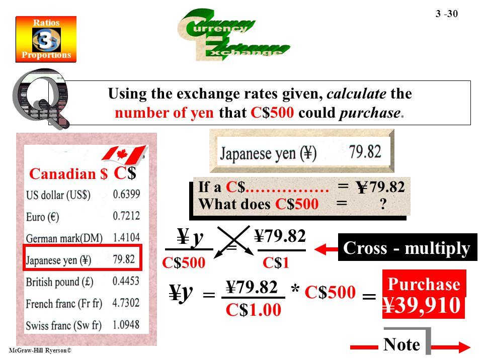 y C urrency E xchange Q = ¥39,910 ¥ y ¥ * C$500 C$ Y ¥79.82 =
