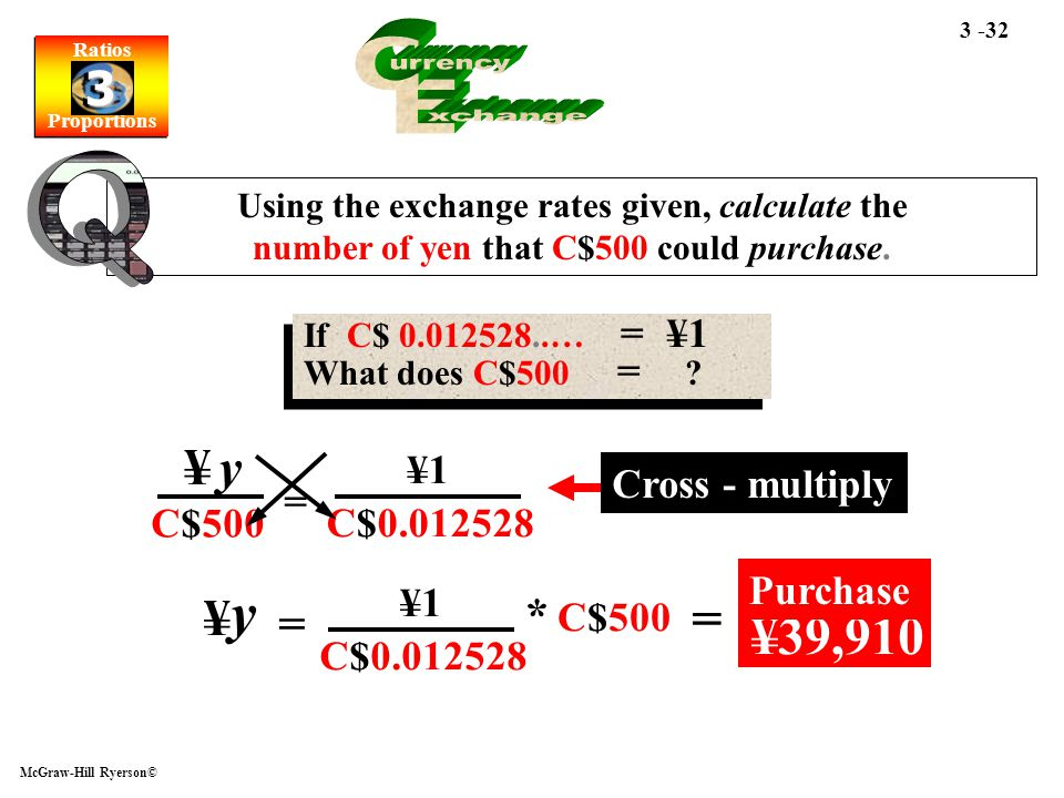 y C urrency E xchange Q = ¥39,910 ¥ y ¥ * C$500 ¥1 ¥1 Cross - multiply