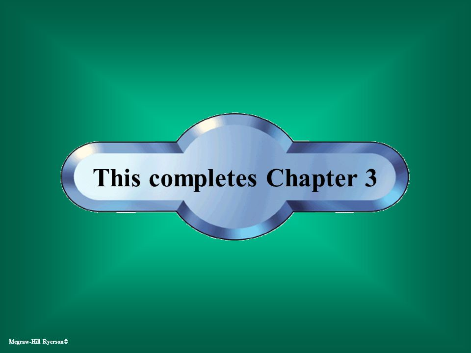 This completes Chapter 3