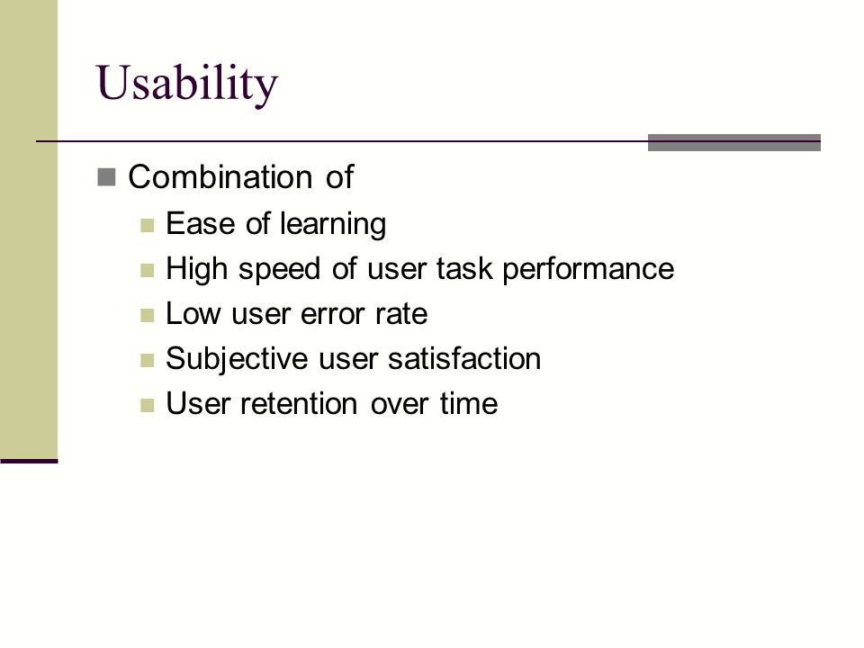 Usability Combination of Ease of learning
