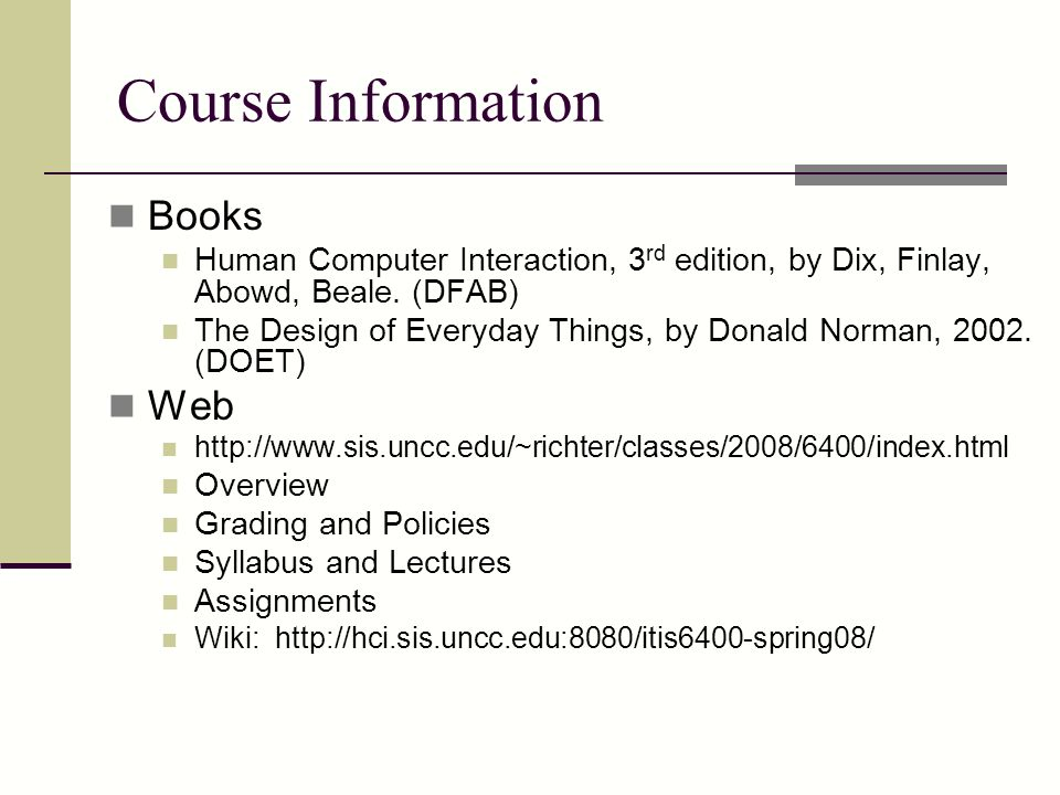 Course Information Books Web