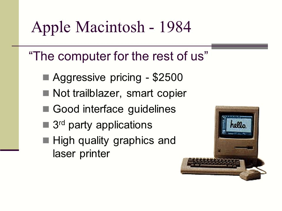 Apple Macintosh - 1984 The computer for the rest of us