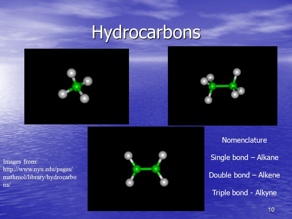 Hydrocarbons Nomenclature Single bond – Alkane Double bond – Alkene