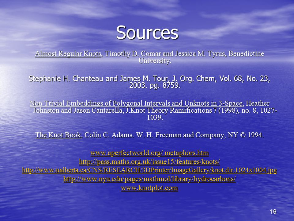 Sources Almost Regular Knots, Timothy D. Comar and Jessica M. Tyrus, Benedictine University.