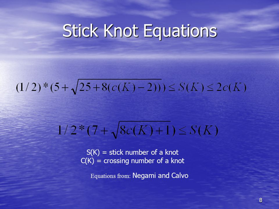 Stick Knot Equations S(K) = stick number of a knot