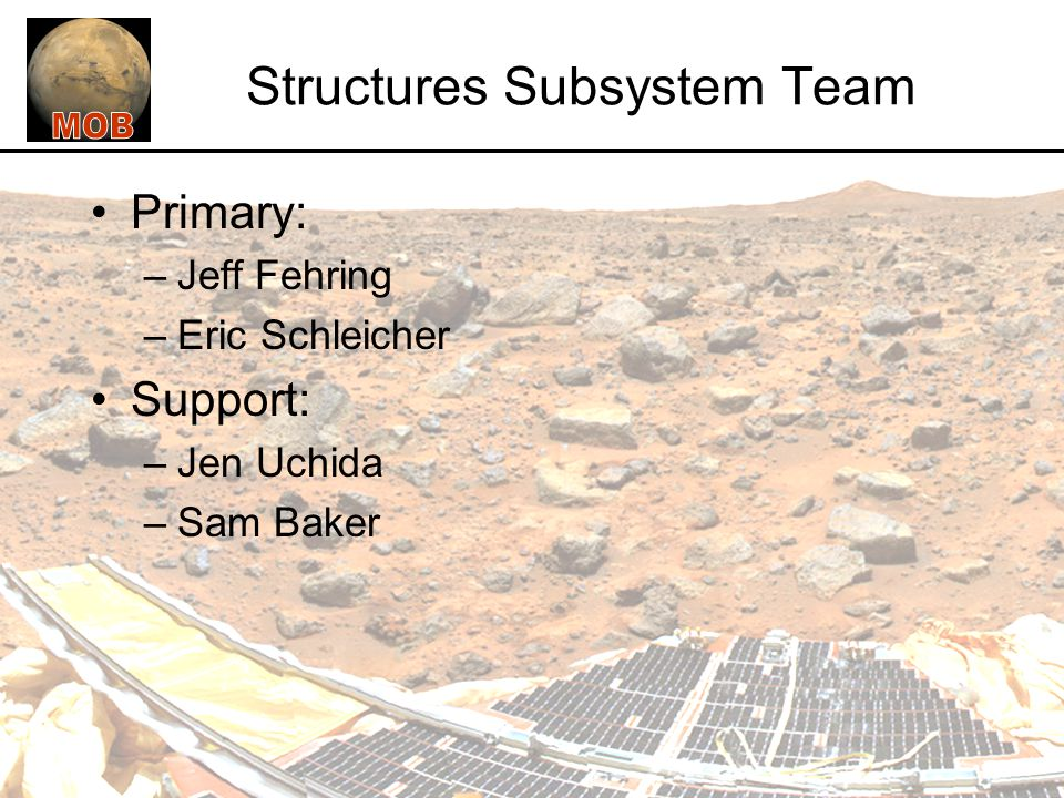 Structures Subsystem Team