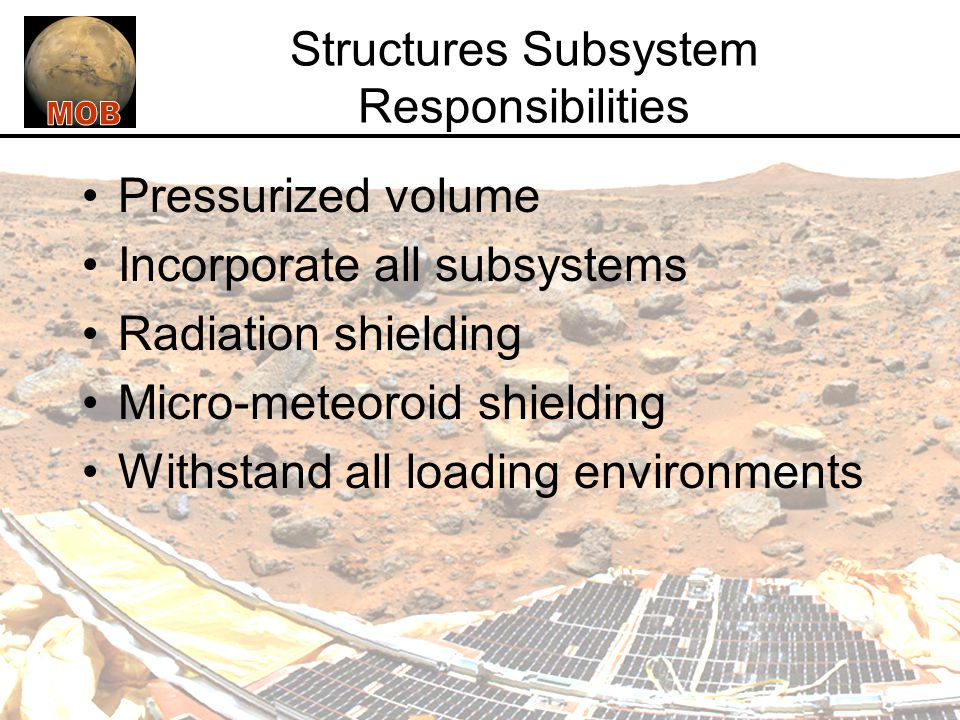 Structures Subsystem Responsibilities