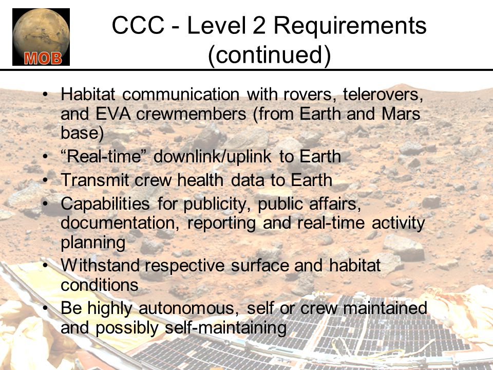 Requirements for the MOB Mars Habitat - ppt video online ...