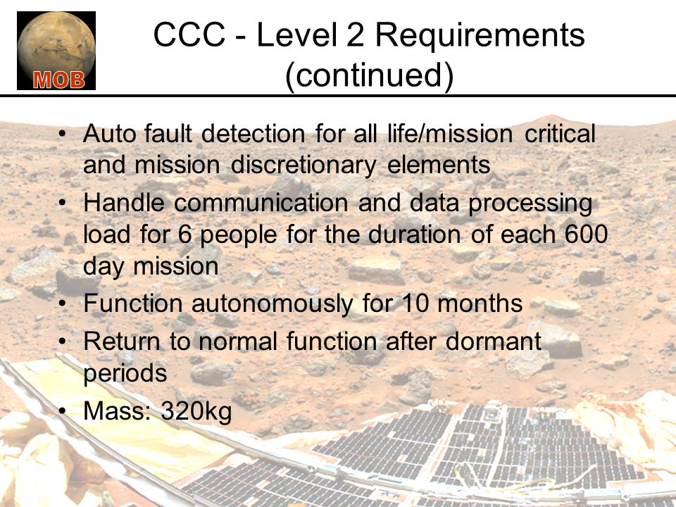 CCC - Level 2 Requirements (continued)
